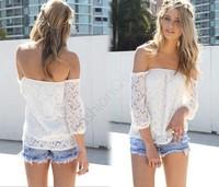 2014 Korea Lace Shirt Casual Batwing Sleeve Lace Blouses shirt Women's Off Shoulder T-Shirt#7 SV001984