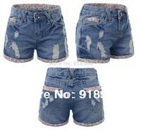 Newest big Size short pants Women's Shorts/Fashion Sexy Ladies' Short Jeans/S~8XL flower Cuffs Plus Big size Summer Shorts/WTE
