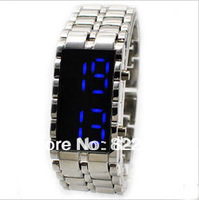 Free Shipping Men's Style Red &Blue LED Metal Lava Style Iron Samurai Watch