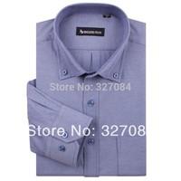 spring 2015 men Fashion long sleeves oxford shirt men dress shirts Pure color Cotton High quality 4XL Free shipping NJF80