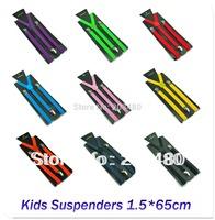 Free shipping-1.5x65cm KIDS Suspenders BOYS/GIRLS Suspender Elastic Braces Slim Suspender 22colors mix Y-back Suspenders/gallus