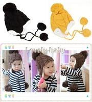 Baby Stripe Plus Velvet Children Ear Protectors Cap Children Knitted Hats Winter Wool Cap Hanging Ball 18006  B18