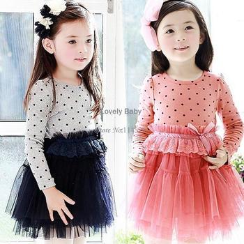 2pcs/lot New 2014 Princess Tutu Dress Baby Girls Dot Dress Bedeck Tulle Long Sleeve Bubble Dress 2 Colors 16824