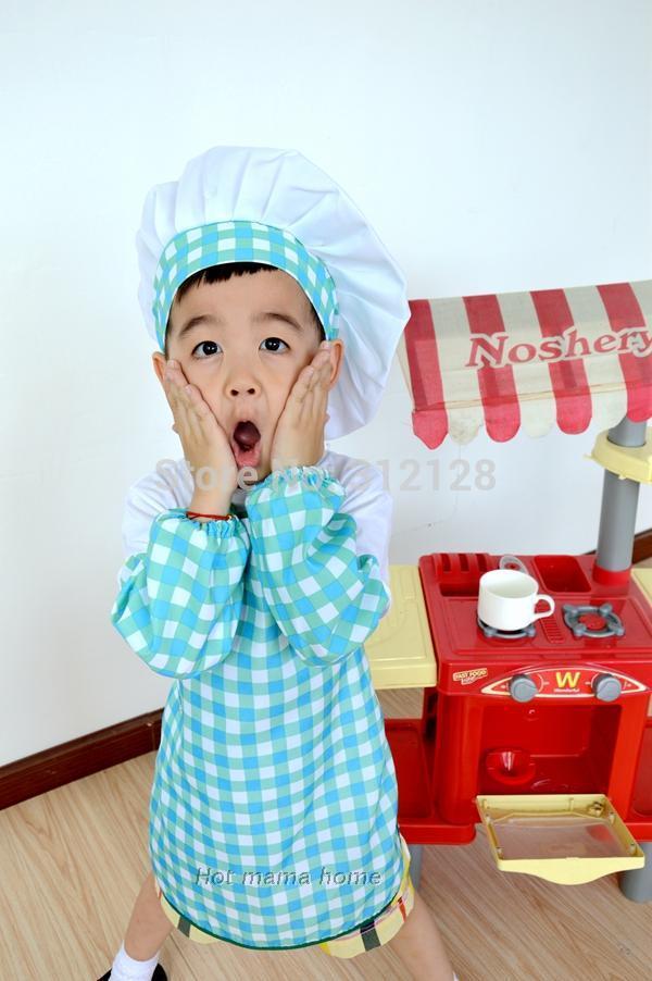 kids apron set plaid style apron + hat set children cooking apron chef cap kindergarten drawing baby apron hat set(China (Mainland))