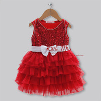 2014 New Christmas Girls Dresses Red And White Belt Yarn Dresses Princess Party Dresses  kids dress  for girl GD30828-7^^LM