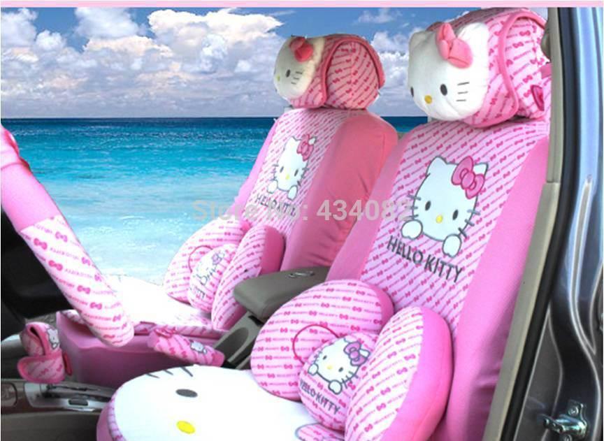 10pcs set Car Covers Cartoon Hello Kitty Car Seat Cover set Universal Car interior Accessories for lada kalina,lada granta,skoda(China (Mainland))