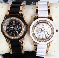 Free Shipping Black White New 2013 Hot Selling Fashion Rhinestones Wristwatch Gifts Girl Ladies Charm Women's Dress Watches