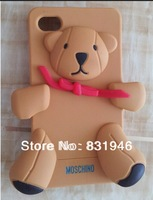 Hot sale Luxury TOP quality soft 3D teddy bear for silicone iphone 4/4s/5/5s Phone cover cases with retail package Free shipping