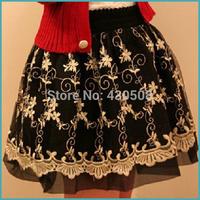 Autumn And Winter Bust Skirt Short Skirt Lace tulle princess skirt Women's Gauze Black Puff Skirt All-Match Black
