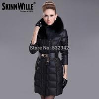 Women Winter Snow Rabbit Fur Collar Slim Medium-long Down Jacket Hooded White Duck Down Coat Fashion Down Parka