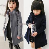 2013 New Children Clothing Girls Winter Coat Kids Woolen Thick Fleece Trench Overcoat Cotton-padded Gray/Blue 18715