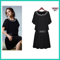new 2013 fashion casual dress plus size clothing plus size high waist summer dress  short-sleeve chiffon one-piece dress female