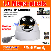 Free shipping 1Megapixel(1280*720)  720P HD Network IR CUT IP Camera P2P Plug and Play Onvif 4pcs Array LEDs IR Night Vision