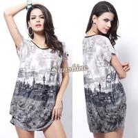 2014 New Arrival Summer Women Dress Bohemian Loose Beach Printing Dress 3 Colors SV000438