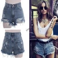 Women's Punk Rock Fashion Street Vintage Grunge Hole Water Wash Retro High Waist Sexy Shorts Jeans Pants SV000535