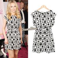 New 2014 Preppy Style Women Clothing Cap Sleeve Geometric Print Elastic Casual Chiffon Tunic Party Mini Dress SV000471 b004