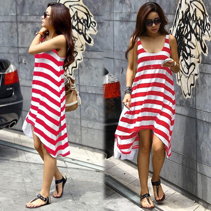 Wholesale and Retail Women Summer Dresses Girl Casual Stripe Irregular Beach Dres