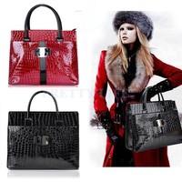 Big Discount 2014 Women leather Handbag Luxury OL Lady Zipper Tote Shoulder Bag Black and Red B12 19068