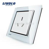 Livolo Luxury white crystal glass panel, VL-W2C1B-12, 1 gang Power Socket, Free shipping, 1-3 days lead time