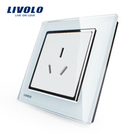 Livolo Luxury white crystal glass panel, VL-W2C1B-12, 1 gang Power Socket, Free shipping, 1-3 days lead time
