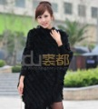 Genuine Rabbit Fur Poncho Hoody casual tassels sweater women's coats/Hot Sale/OEM/Wholesale/Retail/free shipping QD10888  A  G