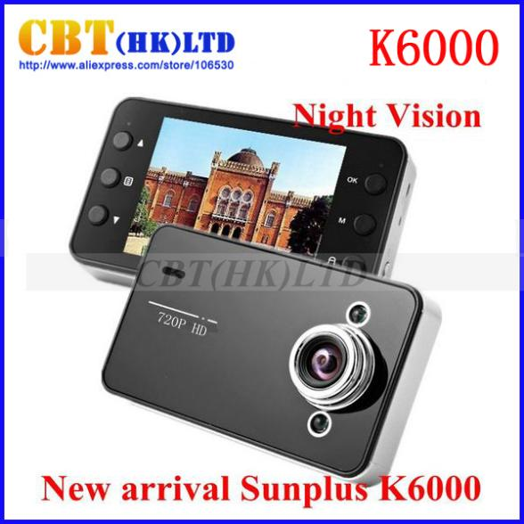 freeshipping K6000 Car Camera Recorder 120 degree A+ level 1280*720p high resolution wide-angle lens 2.7 inch TFT LCD DVR(Hong Kong)
