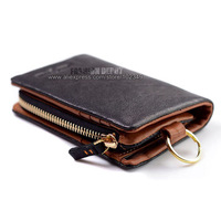 High Quality Cowhide Real Leather Wallet,First Grain Men's Leather Purse with removable coin pocket,YKK zipper [Fashion Depot]