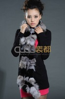 QD11584 2013 Fashion Genuine Rabbit & Fox Fur Scarf Women's Warm Accessory Wraps Neckerchief Female Muffler Free Shipping