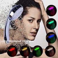Retailsale LED shower head,water flow power 7 Colors shower  flashing jump change bathroom faucet light saving water