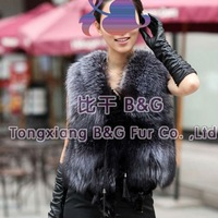 BG11630  2013 Winter  Genuine Silver Fox Fur Vest For Wholesale  Fitted Sexy Gilet Waistcoat Fur