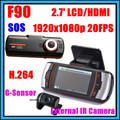 2013 New F90 H.264 Dual Lens Car DVR G-Sensor Full HD 1920x1080p 20FPS 2.7 inch LCD HDMI External IR Rear Camera Allwinner CPU