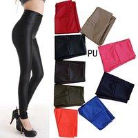 2014 street fashion Europe/America sexy PU leather high waist/rise women leggings/capri pants/trousers,retail