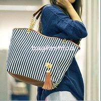 bags Handbags fashion 2013 women Stripe Street Snap Candid Tote Canvas Shoulder Bag drop shipping 3998