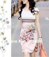 S,M,L,XLXXL,XXXL,4XL,5XL 2014 new summer women print dress short sleeve Slim plus size dress knee-length casual party dress