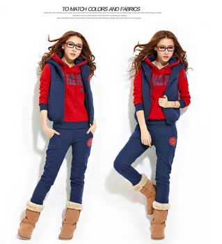 Top Quality Women Autumn Winter hoodies suit , Warm leisure sports Hoodie (hoody,panty,vest) 3pcs sets SU1085