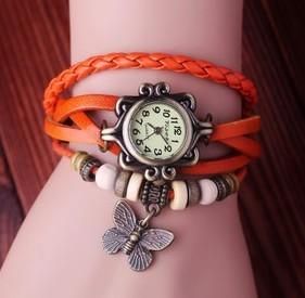 Butterfly tag Wholesale Vintage women wristwatches ladies Genuine Cow leather fashion quartz wrist watch  women watches GLW8