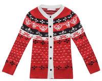 Freeshipping Autumn winter black red Children girl Kids baby cotton jacquard cardigans sweater/outwear clothing top PECB04P08