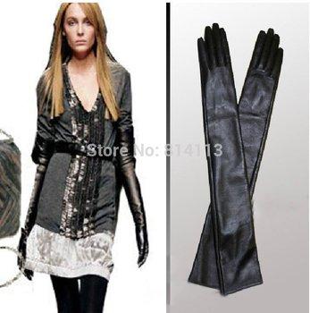 Женщины's Натуральная кожа Длинный gloves 40-60cm warm cape glove