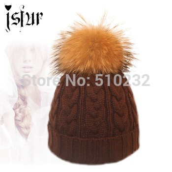 2015 Woolen Knitted Fashion Winter Hat For Gilrs Apparel Accessories Stock Clearance Real Raccoon Fur Top Skullies Beanies