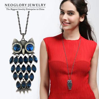 Neoglory MADE WITH SWAROVSKI ELEMENTS Crystal Auden Rhinestone Necklace for Women Owl Pendant Designer Fashion Jewelry 2014 New