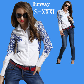 Christmas autumn winter women's flower printed white long sleeve cotton blouse botton tops for casual T shirt plus size new 2013