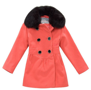 Freeshipping winter red black Children Child girl Kids baby double brested fur collar long sleeve coat jacket outwear LCDS0804