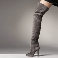 Free shipping ladies fashion shoes 2013 new suede red sole high heel winter knee boots fashion boot platform pumps,size35-43,hot