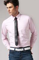 Free shipping Autumn winter blue white pink yellow men's cotton Business casual gentleman slim fit stylish shirt FZ-M002-50SNJF