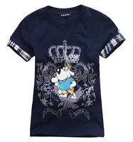 Freeshipping summer Children Boy baby Kids black blue white cartoon pattern short sleeve sports cotton shirt/T-shirt PEXZ01P59