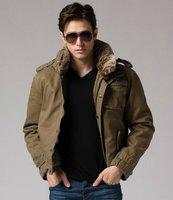 OK freeshipping winter army green 5 color military style man Locomotive  detachable fur collar  jacket coat outwear top WM650