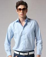 Freeshipping new arrival Autumn winter white blue man gentleman men's Business casual slim fit cotton shirt shirts FZ-M002-B140S