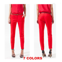 2014 New Spring Summer Autumn Fashion Excellent Quality Elegant Fashion Ladies Pencil Pants, Women Trousers With Belt SX8543
