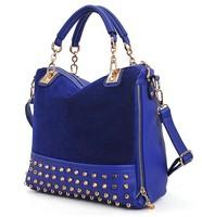 2013 black color 15USD/PCS Women Handbags Rivet Stitching Flannel Bag Shoulder Bag Fashion Handbags Free Shipping BSF004