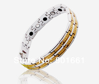 wholesale free shipping fashion2013 men charm SILVER jewelry 24K gold plated Germanium Stainless Steel Magnetic Bracelets&bangle